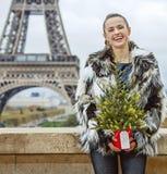 有圣诞树的妇女在埃佛尔铁塔前面在Pari 免版税库存图片