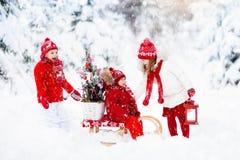 有圣诞树的孩子 雪孩子的冬天乐趣 免版税库存图片
