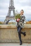 有圣诞树的时尚商人反对埃佛尔铁塔,巴黎 免版税图库摄影