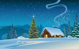 有圣诞树的森林房子 库存图片