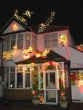 有圣诞灯的之家 库存照片