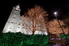 有圣诞灯的盐湖城寺庙 图库摄影