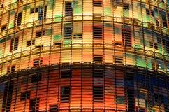 有圣诞灯的Torre Agbar 免版税库存图片