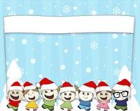 有圣诞老人帽子的小孩 图库摄影