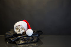 有圣诞老人帽子的头骨 库存图片