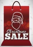 有圣诞老人的面孔的圣诞节销售的,传染媒介例证红色购物带来 向量例证