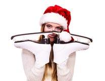 有圣诞老人盖帽的女孩 图库摄影