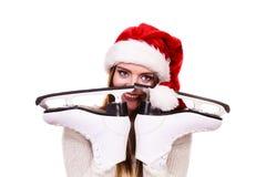 有圣诞老人盖帽的女孩 免版税图库摄影
