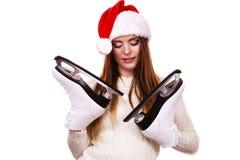 有圣诞老人盖帽的女孩 免版税库存照片