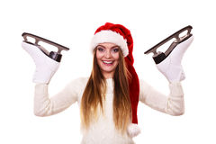 有圣诞老人盖帽的女孩 库存照片