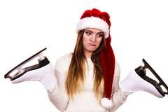 有圣诞老人盖帽的女孩 库存图片
