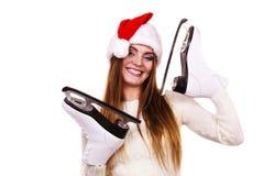 有圣诞老人盖帽的女孩 免版税库存图片