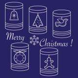 有圣诞节和新年标记的瓶子:Ñ  hristmas树,响铃,双 皇族释放例证