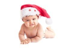 有圣诞节帽子的婴孩 免版税库存图片