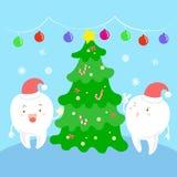 有圣诞节的牙 免版税库存照片