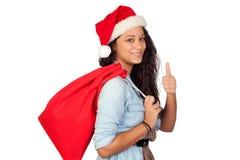 有圣诞节的说可爱的妇女好 免版税图库摄影