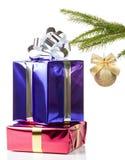 有圣诞节礼品的颜色盒 免版税库存照片