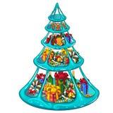 有圣诞节礼物、甜点和装饰的有排列的冰格 贺卡、欢乐海报或者党的剪影 免版税库存照片