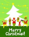有圣诞节礼物的人们 圣诞快乐字法 22个项目符号口径组白色 免版税库存图片