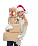 有圣诞节礼物礼物的新年2016年概念十几岁的女孩 免版税库存图片