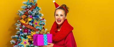 有圣诞节礼物箱子的微笑的少妇 库存图片