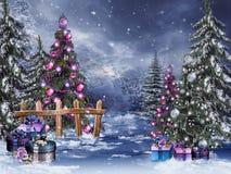 有圣诞节装饰品的冬天森林 免版税库存照片