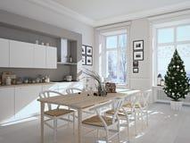 有圣诞节装饰的北欧厨房 3d翻译 免版税库存照片