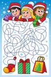 有圣诞节题材的迷宫10 免版税库存照片