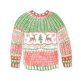 有圣诞节鹿的水彩舒适毛线衣 拉长的现有量 库存照片