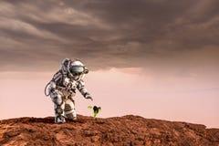 有在其他行星的生活 混合画法 图库摄影