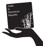 有在多米尼加共和国制造的标志的手 皇族释放例证