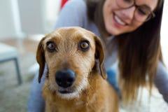 有在家使用的狗的美丽的少妇 免版税库存照片