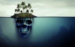有在底下头骨的危险海岛 免版税库存照片