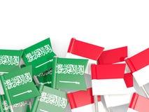有在白色和印度尼西亚的隔绝的旗子的别针沙特阿拉伯 皇族释放例证