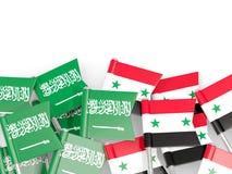 有在白色和叙利亚的隔绝的旗子的别针沙特阿拉伯 皇族释放例证