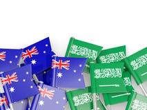 有在白色和沙特阿拉伯的隔绝的旗子的别针澳大利亚 库存例证