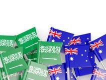 有在白色和澳大利亚的隔绝的旗子的别针沙特阿拉伯 库存例证