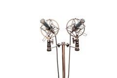 有在白色和立场的立体声电容传声器隔绝的缆绳、防震座 免版税图库摄影