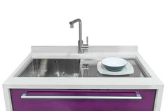 有在白色背景和镜子的卫生间家具隔绝的水盆 库存照片