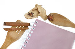 有在白色和香料的木炊事用具隔绝的书 免版税库存照片