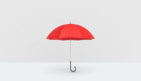 有在白色背景垂直安置的把柄的一把开放经典红色伞 免版税库存照片