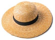 有在白色背景海滩帽子顶视图被隔绝的黑小条的俏丽的草帽 免版税库存图片