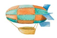 有在白色背景的水彩画的篮子的动画片飞艇 免版税库存照片