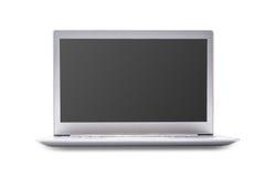有在白色背景隔绝的黑屏的膝上型计算机,白色alu 免版税库存照片