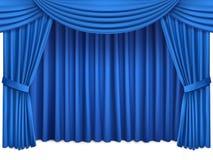 有在白色背景隔绝的lambrequins的豪华蓝色丝绸帷幕 库存图片