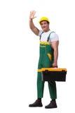有在白色背景隔绝的工具箱的人 免版税库存照片