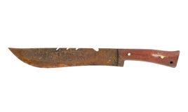 有在白色背景隔绝的木把柄的生锈和肮脏的刀子 免版税库存图片