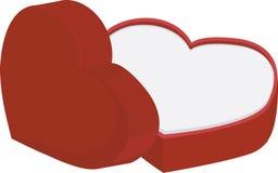 有在白色背景隔绝的盖帽的红色心脏形状箱子 免版税库存照片
