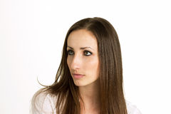 有在白色背景隔绝的美丽的眼睛的妇女 免版税库存图片