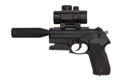 有在白色背景隔绝的遏声器的手枪 免版税库存图片